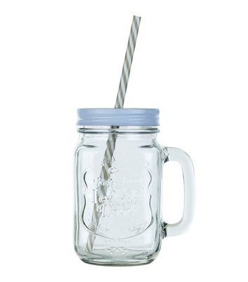 Product photo of Glass embossed jar and straw
