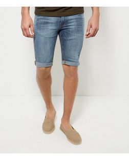 Blue Washed Turn Up Skinny Shorts  | New Look