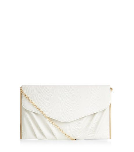 White Textured Metal Bar Trim Clutch  | New Look