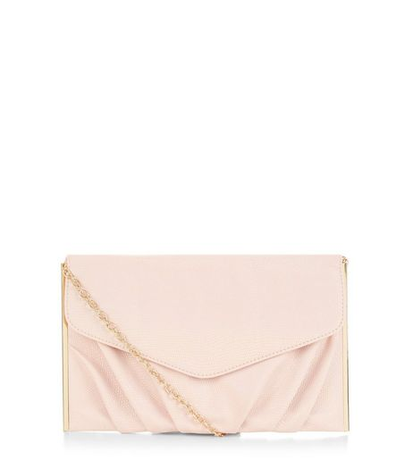 Stone Textured Metal Bar Trim Clutch  | New Look