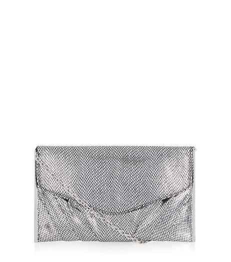Silver Textured Metal Bar Trim Clutch  | New Look