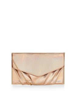 Bronze Textured Metal Bar Trim Clutch | New Look