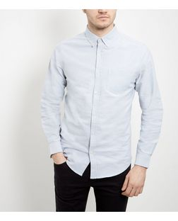 Light Blue Single Pocket Oxford Shirt  | New Look