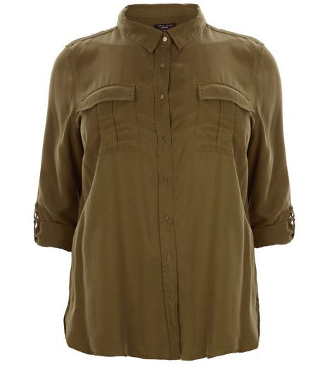 Curves Khaki Double Pocket Shirt | New Look
