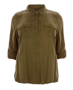 Plus Size Khaki Double Pocket Shirt | New Look