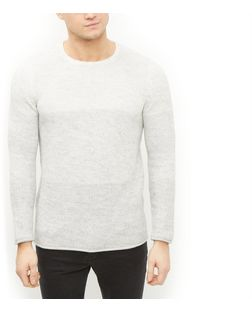 White Ombre Roll Hem Jumper  | New Look