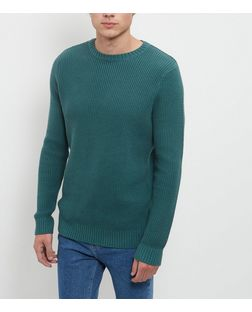 Jade Green Chunky Stitch Jumper  | New Look