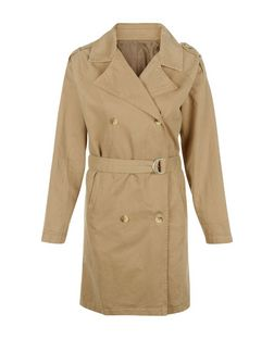 Innocence Stone Double Breasted Belted Trench Coat | New Look