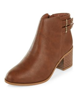 Wide Fit Tan Comfort Buckle Strap Ankle Boots  | New Look