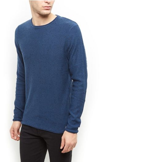 Produkt Blue Flecked Crew Neck Jumper  | New Look