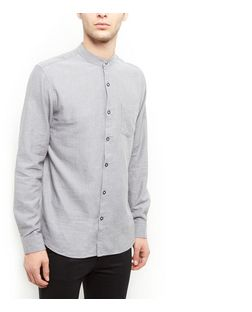 Produkt Grey Single Pocket Grandad Collar Long Sleeve Shirt  | New Look