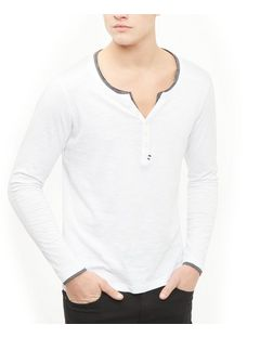 Produkt White Button Front Long Sleeve Top  | New Look
