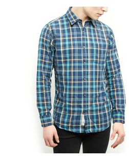 Produkt Blue Herringbone Check Shirt | New Look