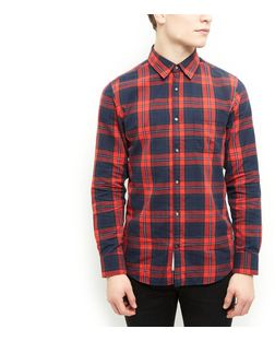 Produkt Red Herringbone Check Shirt | New Look