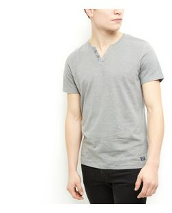 Produkt Grey Space Dye Button Front T-Shirt | New Look