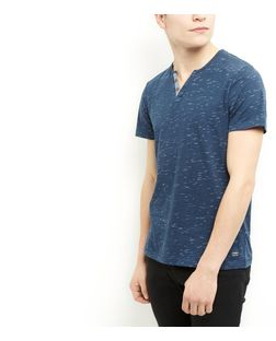 Produkt Blue Space Dye Button Front T-Shirt | New Look