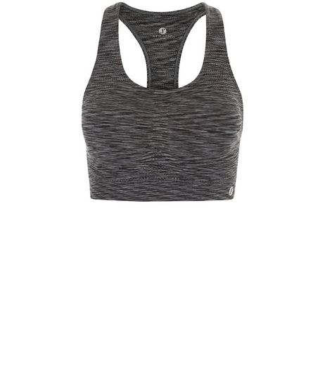 Grey Space Dye Sports Crop Top  | New Look