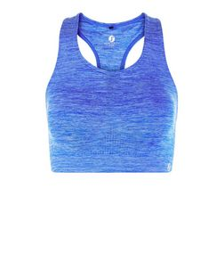 Blue Space Dye Sports Crop Top  | New Look