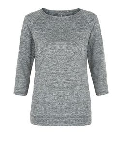 Khaki Marl 3/4 Sleeve Yoga Sports Top  | New Look