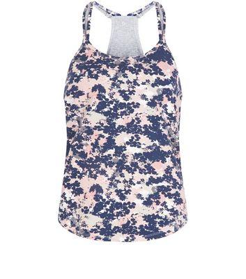Pink Floral Print Yoga Sports Vest