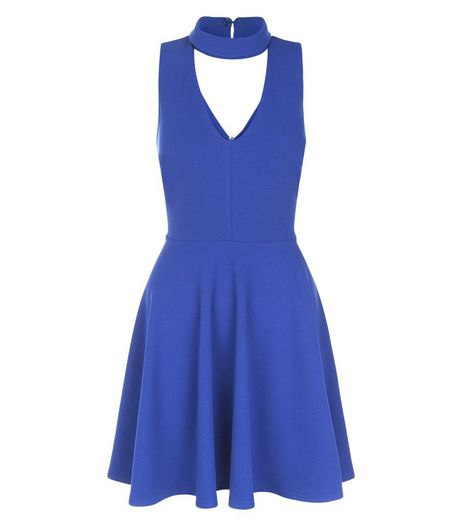 Blue High Neck Cut Out Front Skater Dress  | New Look