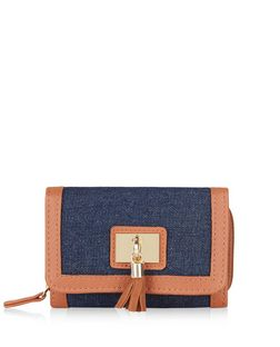 Blue Denim Tassel Front Purse  | New Look