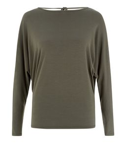 Khaki Tie Back Batwing Top  | New Look