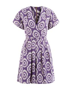 Closet Purple Abstract Print Wrap Front Dress | New Look