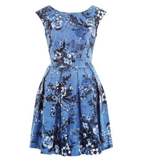 Closet Blue Floral Box Pleat Dress | New Look