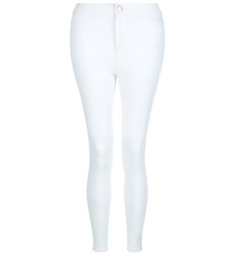 Petite 28in White High Waist Super Skinny Jeans | New Look