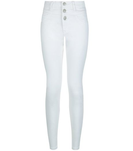 Petite 28in White High Waisted Supersoft Skinny Jeans  | New Look