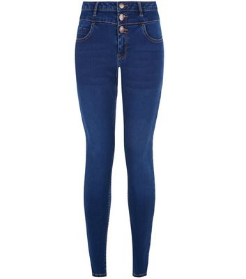 Petite 28in Blue High Waist Supersoft Skinny Jeans
