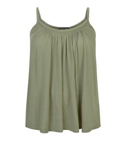 Plus Size Khaki Shirred Trim Cami  | New Look