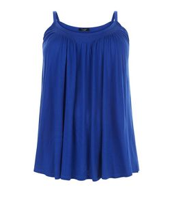 Plus Size Blue Shirred Trim Cami  | New Look