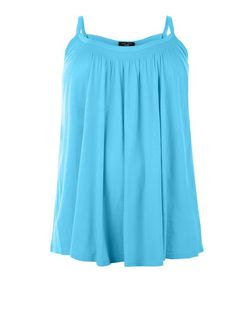 Plus Size Turquoise Shirred Trim Cami  | New Look