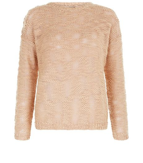 Petite Shell Pink Slub Jumper | New Look