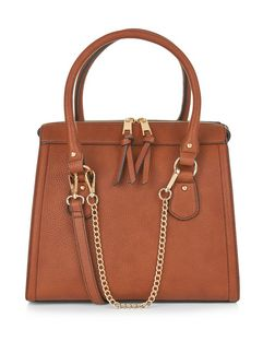 Tan Chain Strap Structured Bag  | New Look