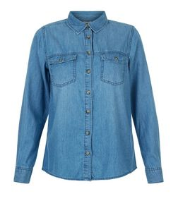 Petite Blue Double Pocket Denim Shirt | New Look