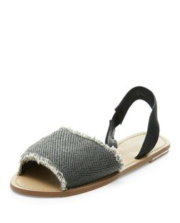 Grey Fray Trim Sling Back Sandals  | New Look