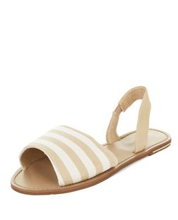 Cream Stripe Sling Back Sandals  | New Look
