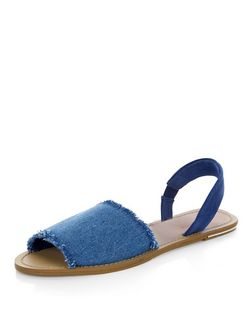 Blue Denim Fray Trim Sling Back Sandals  | New Look