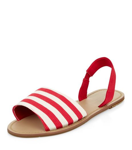 Red Stripe Sling Back Sandals  | New Look
