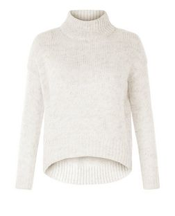 Petite Stone Funnel Neck Curve Hem Jumper  | New Look