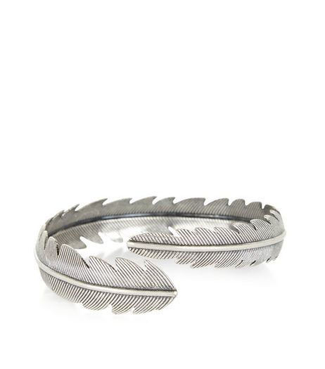 Silver Leaf Wrap Armcuff | New Look