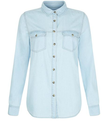 Light Blue Denim Double Pocket Long Sleeve Shirt  | New Look