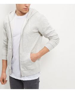 Oatmeal Zip Up Hoodie  | New Look
