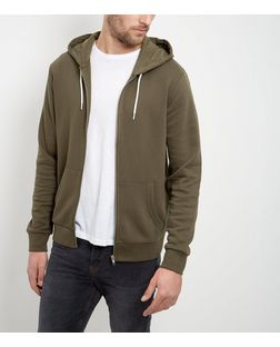 Khaki Zip Up Hoodie  | New Look