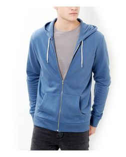 Blue Zip Up Hoodie  | New Look