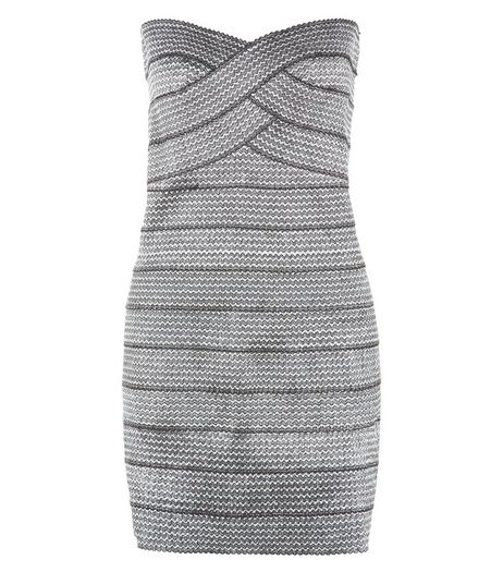 Blue Vanilla Silver Textured Bandeau Bodycon Dress | New Look