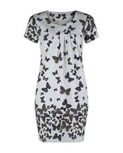Blue Vanilla Grey Butterfly Print Tunic Dress | New Look
